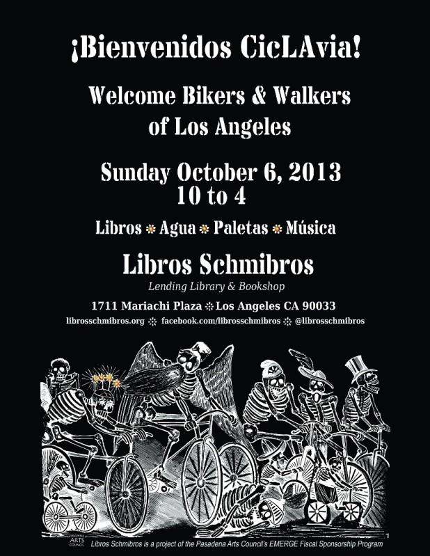 CicLAvia 2013 - Libros Schmibros poster
