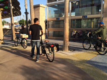 Loaded and heading out - passing Mariachi Plaza Metro station (Gold Line)