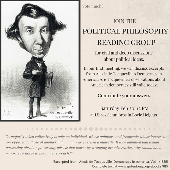 de Tocqueville - Political Philosophy Reading Group - Feb 2016