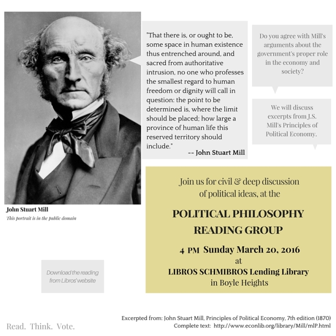 J S Mill - Political Philosophy Reading Group - March 2016